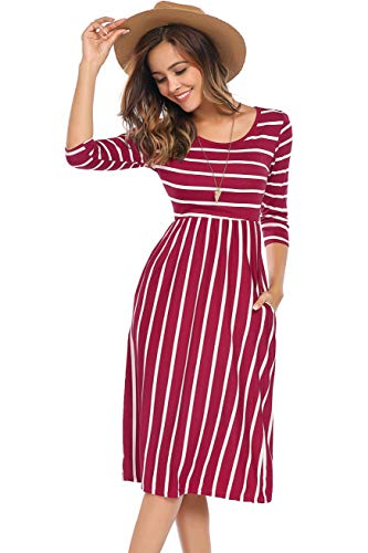 (Halife Women's Casual Cinched Waist A-Line Knee-Length Jersey Dress with Pockets Burgundy,XL )