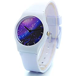 Zeiger Cool Kids' KW012 Analog Display Quartz Easy Read Young Boys Girls Children Teen Plastic Wrist Watch with Silicon Resin Rubber Strap (White)