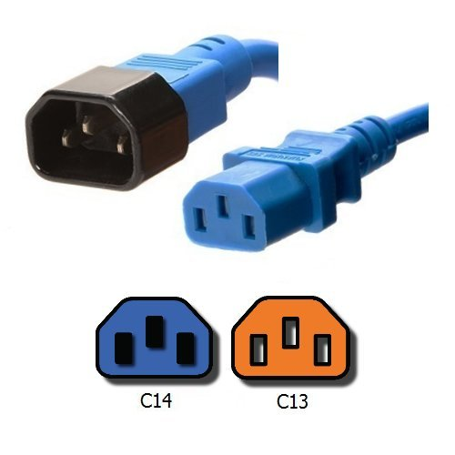 IEC Jumper Power Cord C14 to C13 - 3 Foot, Blue, 10A/250V, 18/3 AWG - Iron Box Part # IBX-2817-03