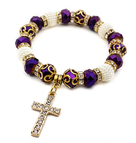 - Deep Purple Crystal Beads Wrist Bracelet by Nazareth Store | Catholic Cross Bangle Elastic | Handmade Rosary Bracelet from Holy Land