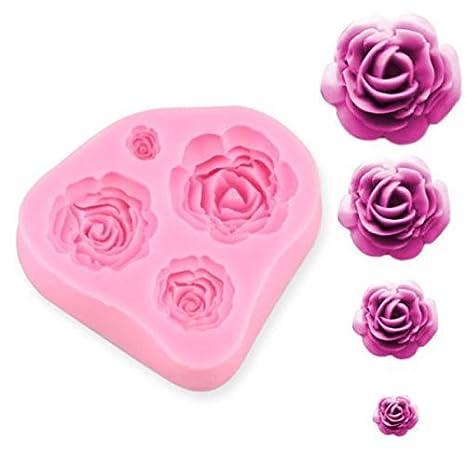 Ewin24 4 Tamaño flor de las rosas torta del silicón Molde chocolate Sugarcraft que adorna Fondant Fimo Herramienta Regalo: Amazon.es: Hogar
