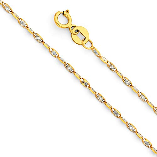 Jewels By Lux 14K White and Yellow Gold 1.4MM Two Tone Twist Snail Star Diamond-Cut Chain Necklace - 16 Inches