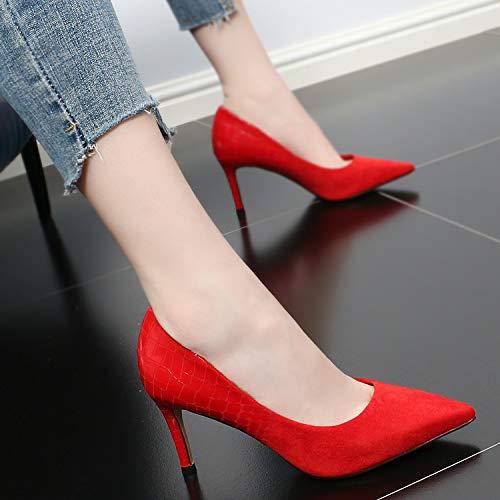 GTVERNH gules Single Heel Shoes With Autumn Shoe Sharp Head Fairy Thin Wedding Fashion 8Cm women's Mouth shoes High Sexy Shallow Summer 1Rnr1wqa