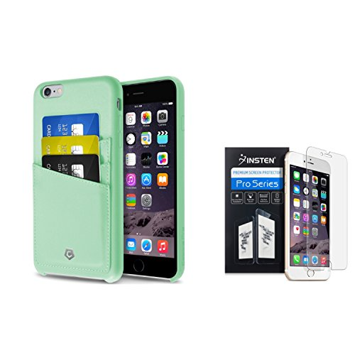 Cobble Pro Premium Handcrafted [Ultra Slim] Mint Green Leather Back Case Cover with ID Credit Card Slot Holder + Clear Screen Protector Compatible with Apple iPhone 6S Plus/ 6 Plus (5.5