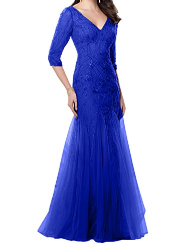 Festlichkleider Blau Royal Brautmutterkleider langarm V Meerjungfrau Neu Charmant Abendkleider Damen ausschnitt wCqnW0v