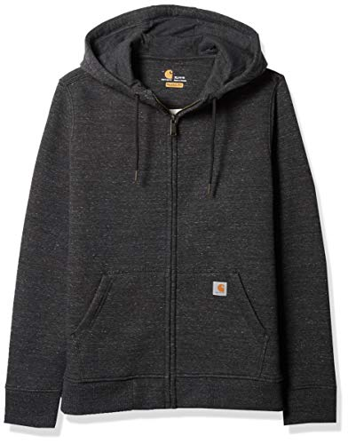 Carhartt Women's Clarksburg Full Zip Hoodie (Regular and Plus Sizes), Black Heather N, X