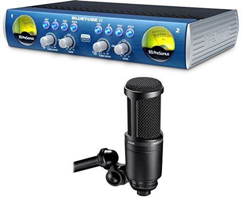 Presonus Bluetube DP V2 2 Channel Tube Mic Pre+Audio Technica AT2020 - Tube Pattern Condenser Microphone Vacuum
