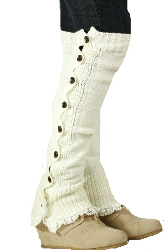 Lucky Love Women's Knitted Leg Warmers with Lace Trim