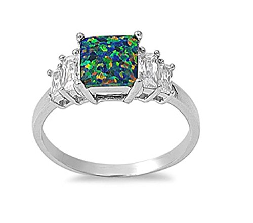 - CloseoutWarehouse Princess Cut Center Clear Cubic Zirconia Black Simulated Opal Ring 925 Sterling Silver Size 10