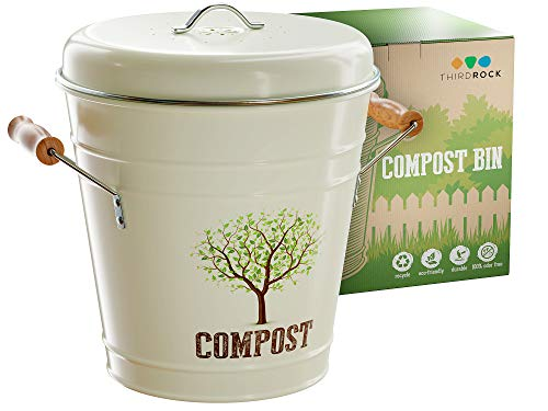 Third Rock Compost Bin for Kitchen Counter - 1.3 Gallon 5 Liter | Premium Dual Layer Powder Coated Carbon Steel Compost Bin Countertop Bucket | Includes Charcoal Filter & Removeable Inner Pail Liner (For Countertop Kitchen)