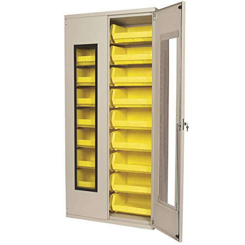 Akro-Mils AC3618 QV250 Steel Quick View Storage Cabinet, Flush See-Thru Doors, Louvered Panel, 18 Yellow AkroBins, 36