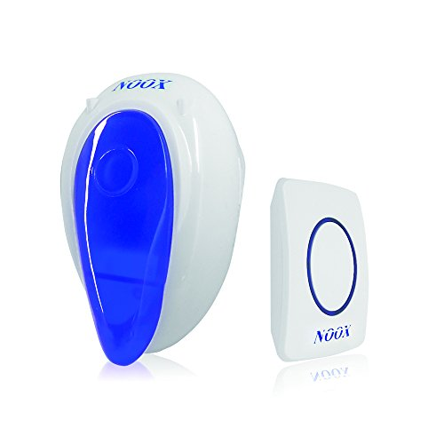 NOOX Wireless Doorbell Door Bell Chime for Home Office & Hotel Anti-interfering LED Light, 1 Plug-In Receiver & 1 Push Button Transmitter