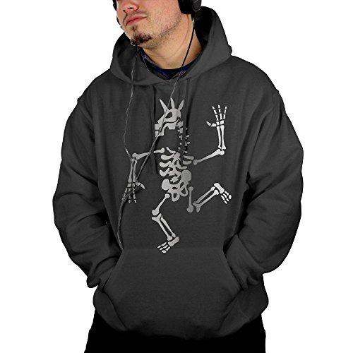 Vintage Golfer Costume (Skeleton-unicorn-dance Printed Drawstring Pullover Men's Hoodie Hooded Sweatshirt Black)