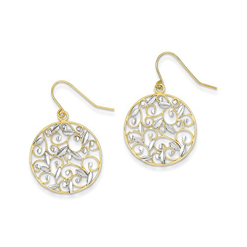 Roy Rose Jewelry 14K Yellow Gold & Rhodium Diamond-cut Filigree Circle Wire Earrings - Gold Filigree Circle Earrings
