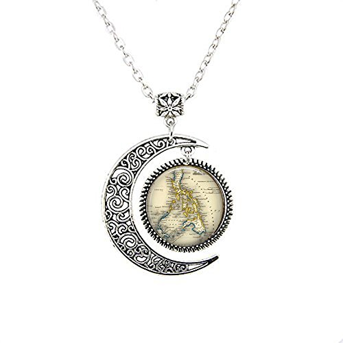 yijun Vintage Philippines - Filipina Jewelry - Southeast Asia Map - Philippines Moon Necklace (Philippines Necklace)