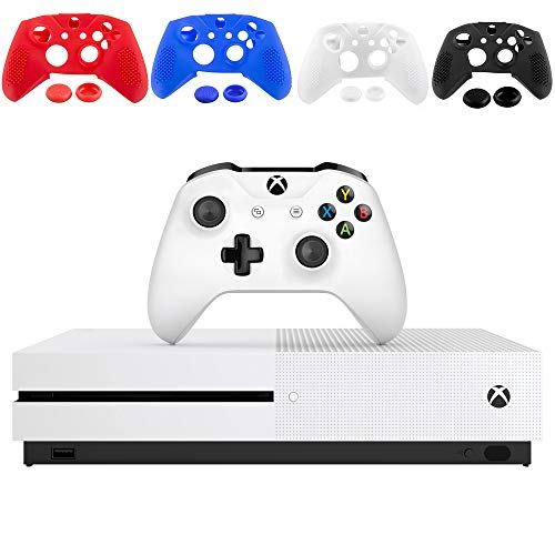 Microsoft Xbox One S 1TB Console, White with 1 Xbox Wireless Controller - 1 Month Xbox Game Pass Trial - Family Christmas Holiday Gaming Bundle - iPuzzle 4 Colors Silicone Cover