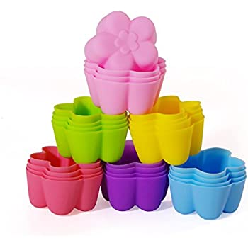 Mirenlife Reusable and Non-stick Mini Silicone Baking Cups/ Muffin Cups/ Mini Cupcake Liners/ Mini Chocolate Holders/Truffle Cups -24 Pack-6 Vibrant Colors Flower