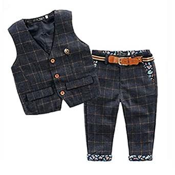 Odziezet Niño Traje Bebe Formal A Cuadros Fotografia Conjuntos Chaleco + Pantalones Estilo Británico 2 Piezas 1-5 años