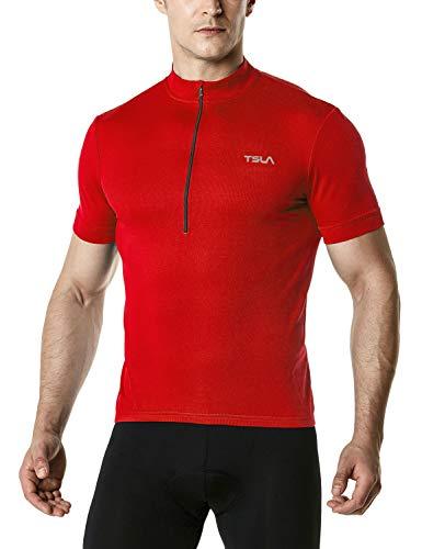 (TSLA Men's Cycling Triathlon Jersey Bike Breathable Reflective Quick Dry Short Sleeve Biking Shirt, Cycle Short Sleeve(mct01) - Red, Medium )