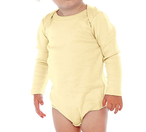 Kavio! Unisex Infants Lap Shoulder Long Sleeve Onesie Lemon 6M Yellow Long Sleeve Onesie