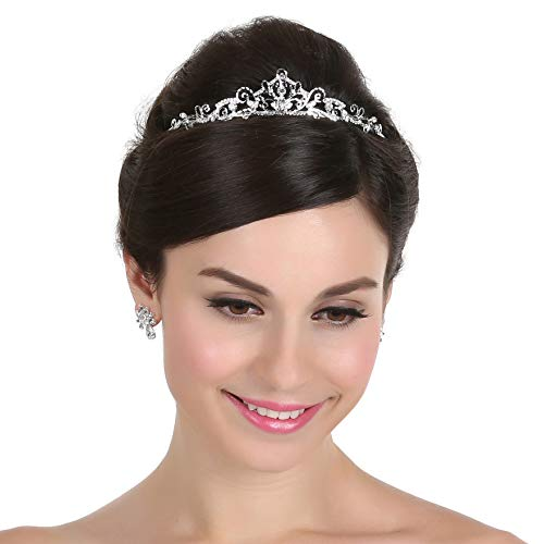 Wire Scroll Bridal Princess Crystal Wedding Tiara - Silver Plated T252