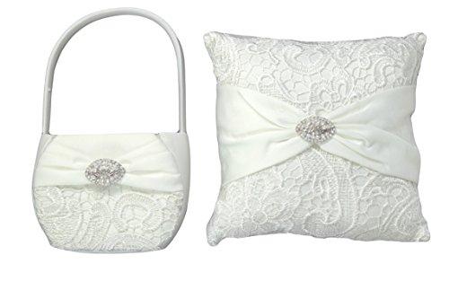 Bundle of Lillian Rose Ring Bearer Pillow and Flower Girl Basket (Vintage Lace)