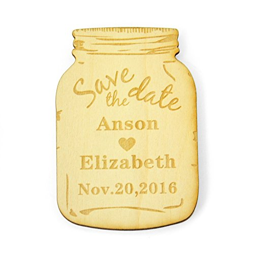 Personalized Save the Date Magnets, Custom Wood Save the Date Magnets, Rustic Wooden Engraved Magnets (50) -