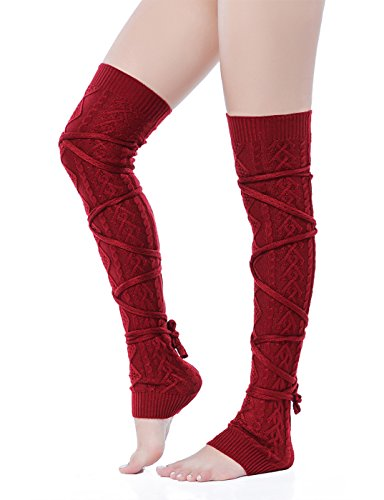 V28 Women Over Knee Lace up Tie Cable Knit Ribbed Crochet Long Boot Leg Warmers (XS-M, Burgundy)