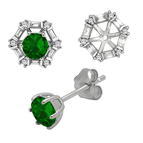 (10K White Gold Emerald Gemstone and Diamonds Removable Jacket Stud Earrings for Women)