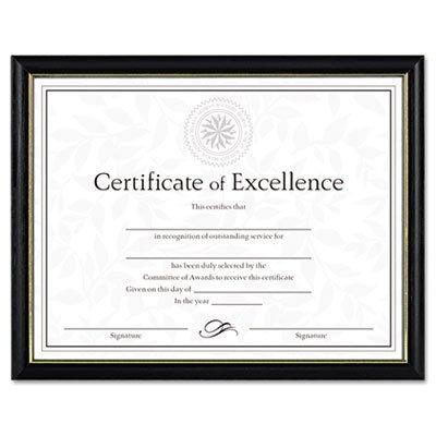 Two-Tone Document/Diploma Frame, Wood, 8 1/2 x 11, Black w/Gold Leaf Trim (2 Pack)