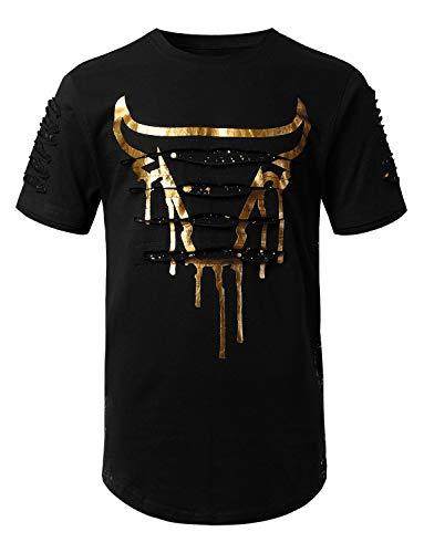 URBANCREWS Mens Hipster Hip Hop Gold Bulls Razor Slashed T-Shirt Black Medium