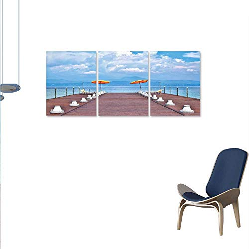 Anzhutwelve Seascape Art-Canvas Prints Luminous Sunshades and Sun Beds On a Jetty at Lake Seascape Scenic Modern Wall Art for Living Room Decoration 24