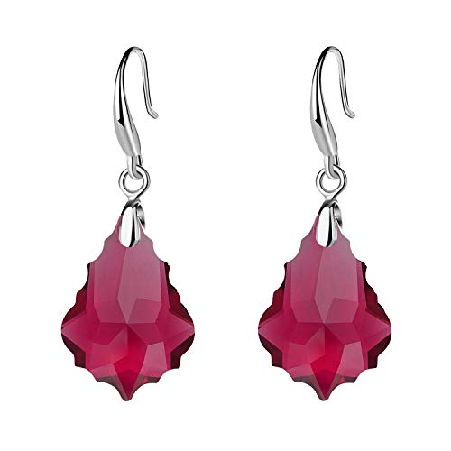 EVEVIC Swarovski Crystal Baroque Teardrop Dangle Hook Earrings for Women Girls 14K Gold Plated Jewelry (Fuchsia) Crystal Teardrop Dangle Earrings
