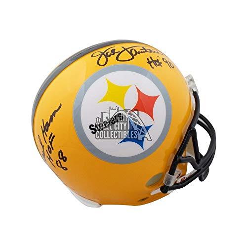 Football Signed Lambert Jack - Jack Ham Jack Lambert HOF Autographed Signed Steelers Full -Size Football Helmet Memorabilia - JSA Authentic