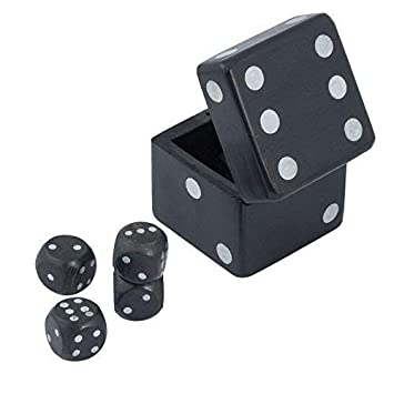 CRAFT ART INDIA Dice|Game|Set|Box|Board|Holder|Wooden|Black|Size(Inch):2.5x2.5x2.5
