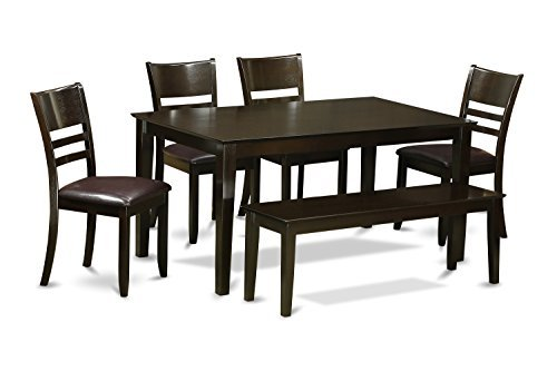 East West Furniture CALY6-CAP-LC 6 PC Dining Set with Bench- Table and 4 Dining Chairs and Bench