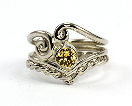 Angelic Natural Yellow Canary Sapphire Script Ring Set - 14k-18k Palladium White, Rose Gold or Yellow Gold - Wedding Band Engagement Ring Set, Promise Ring, Anniversary - Handmade - Canary Bezel