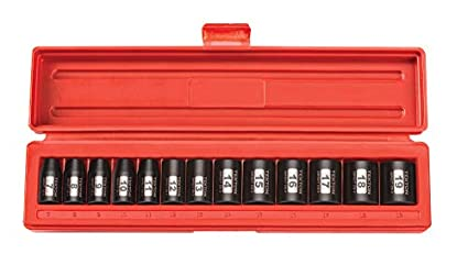 TEKTON 47915 3/8 Inch Drive Shallow Impact Socket Set 7 19mm Metric Cr V 6 Point 13 Sockets