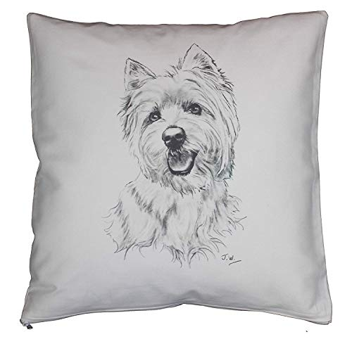 (Yohoba West Highland Terrier Westie 'Portrait' Breed of Dog Cotton Linen Cushion Cover Home Decorative Throw Pillowcases Covers Sofa Couch Square 18