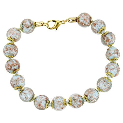 GlassOfVenice Murano Glass Sommerso Bracelet - Aqua (Murano Bracelets Aqua)