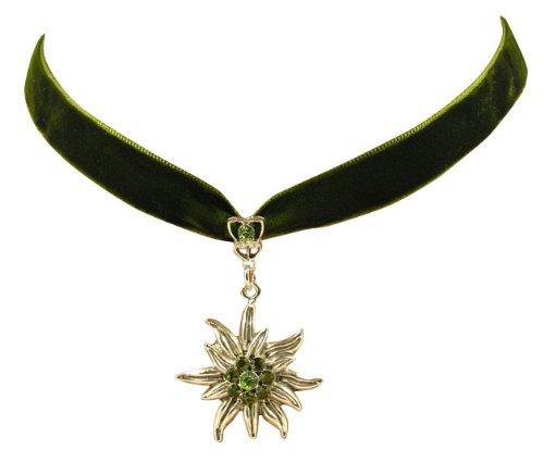 Trachtenschmuck Dirndl Edelweiss Kropfband aus Samt - oliv dunkelgrün - mit Olivine und Peridot grünen Strasskristallen