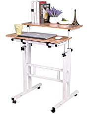 Soges Adjustable Stand Up Desk Computer Mobile Desk Workstation with Standing and Seating
