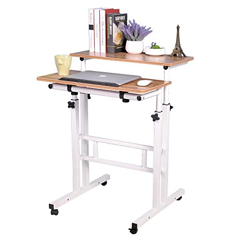 Soges Adjustable Stand Up Desk 23.6inches Computer Mobile Desk Workstation with Standing and Seating,Oak 101-G-CA
