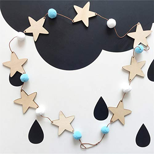 Nordic Wooden Wind Chimes Star Beads Garland - Decorative Wall Window Curtains Hanging Banners for Living Room Nursing Room (B)