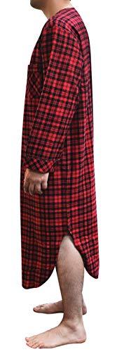 Stafford - Men's Flannel Nightshirt (Red Plaid, XX-Large)