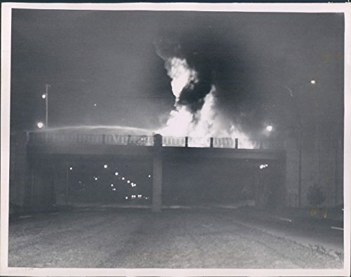 Vintage Photos 1955 Photo Fleet Gasoline Fire Night Smoke Flame Blaze Wreckage Bridge