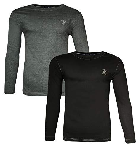 - Beverly Hills Polo Club Men's Long Sleeve Crew Neck T-Shirt (2-Pack), Black/Charocal Heather, Medium'