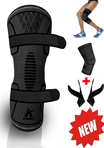 Knee Brace Compression Sleeve with 2 Removable Support Straps – Best for Meniscus Tear, Arthritis, ACL, MCL, Running, Basketball, Crossfit – Speeds Up Recovery and Relieve Pain for Men & Women – Sports Center Store