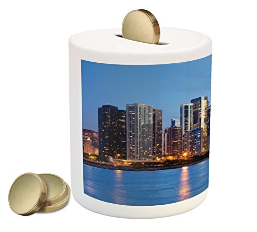 Chicago Skyline Piggy Bank By Ambesonne  Sunset In Big City With Dramatic Sky Skyscrapers Evening By Lake  Printed Ceramic Coin Bank Money Box For Cash Saving  Blue Orange Taupe