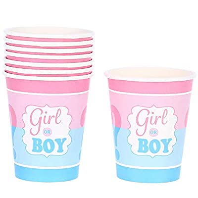 Boy or Girl Gender Reveal or Baby Shower Party Supplies - Dinner Plates, Cups, Napkins, Tablecloth and Banner Decorations for Gender Reveal Party Supplies (Serves 16): Toys & Games